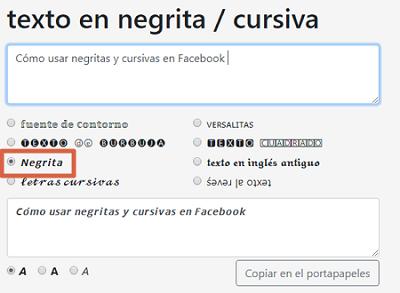 Cómo usar negritas y cursivas en publicaciones de Facebook desde la PC paso 2
