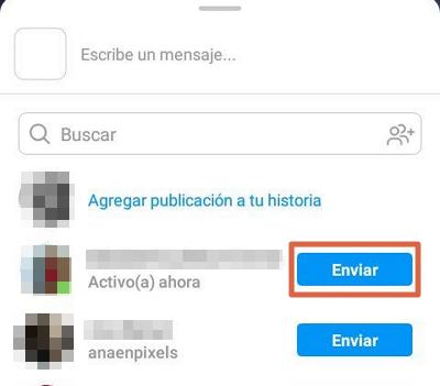 Compartir publicaciones por Instagram Direct paso 2