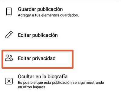 Configurar privacidad en publicaciones de Facebook paso 2