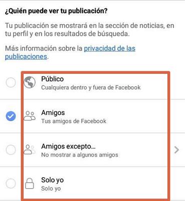 Configurar privacidad en publicaciones de Facebook paso 3