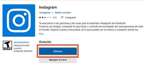 Descargar e instalar Instagram para PC desde la tienda de Microsof paso 1