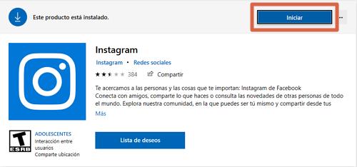 Descargar e instalar Instagram para PC desde la tienda de Microsof paso 3