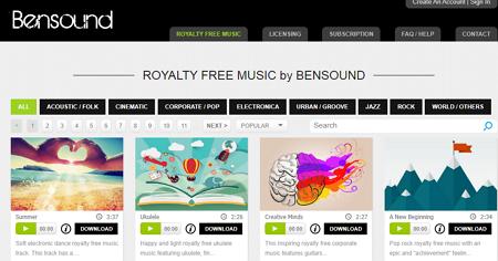 Descargar música gratis desde Android con Bensound