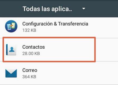 Eliminar datos de contactos para solucionar el error android.process.acore se ha detenido paso 3