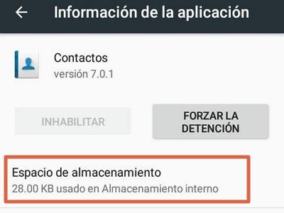 Eliminar datos de contactos para solucionar el error android.process.acore se ha detenido paso 4