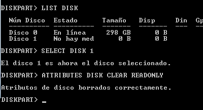 Eliminar protección contra escritura de memoria micro SD con Diskpart en Windows paso 7