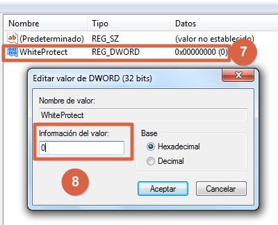 Eliminar protección contra escritura de memoria micro SD desde el Editor del Registro de Windows pasos 7 y 8