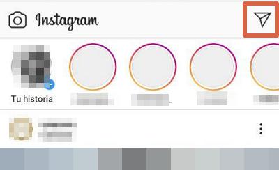 Enviar un DM Instagram App paso 1
