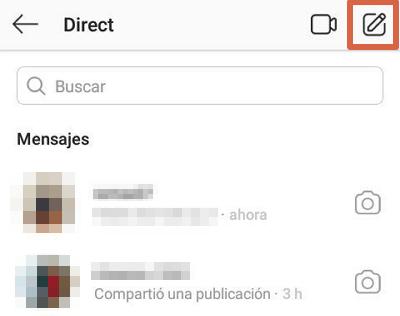 Enviar un DM Instagram App paso 2