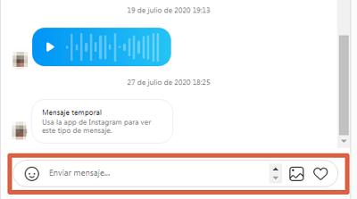 Enviar un DM en la web de Instagram desde PC paso 3