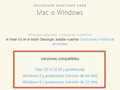 Otra alternativa para descargar WhatsApp para PC SO Windows o Mac