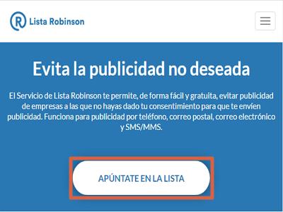 Registrarse en la Lista Robinson para evitar publicidad no deseada paso 1