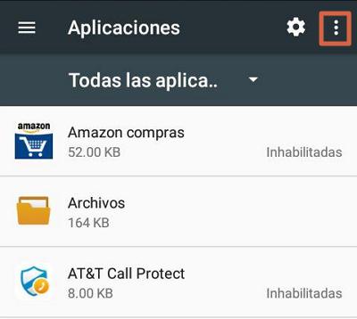 Restablecer preferencias de aplicaciones para solucionar el error android.process.acore se ha detenido paso 3
