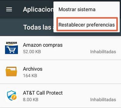 Restablecer preferencias de aplicaciones para solucionar el error android.process.acore se ha detenido paso 4