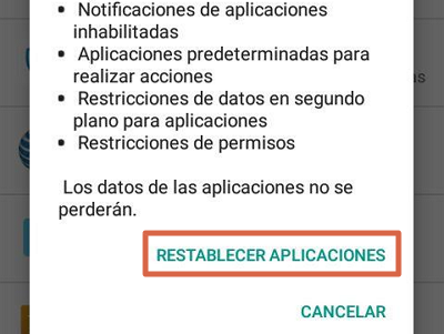Restablecer preferencias de aplicaciones para solucionar el error android.process.acore se ha detenido paso 5