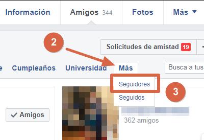 Saber quién te sigue en Facebook paso 2 y 3