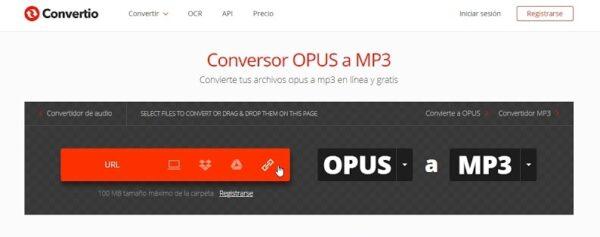 convertidor de opus a mp3 online