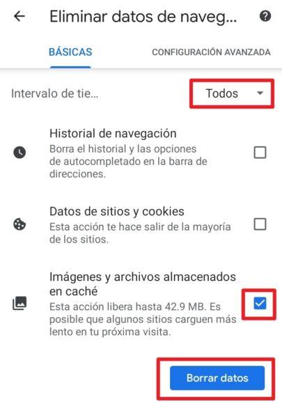 solucionar error cache google chrome