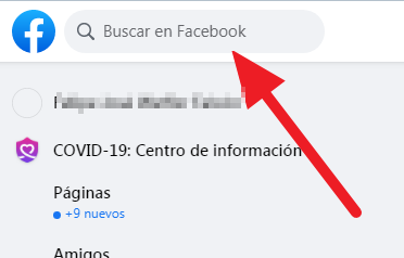 Barra de búsquedas de Facebook