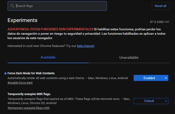 Activar el Modo oscuro de Chrome flags en el navegador de Chrome