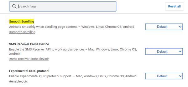 Activar el desplazamiento suave de Chrome flags en el navegador de Chrome