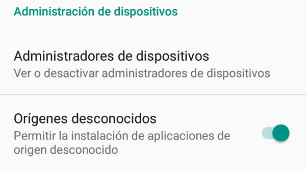 Activar permiso de instalación de aplicaciones de origen desconocido para descargar archivos APK