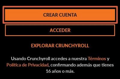 Como crear una cuenta en Crunchyroll y usarla para ver anime paso 1