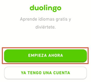 Cómo utilizar Duolingo en tu télefono para aprender inglés paso 2