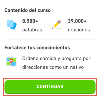 Cómo utilizar Duolingo en tu télefono para aprender inglés paso 6