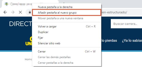 Función agrupar pestañas de Chrome flags en el navegador de Chrome