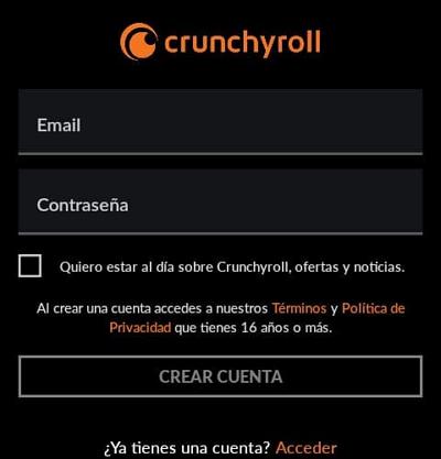 como crear una cuenta en crunchyroll y usarla para ver anime paso 2