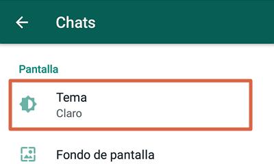 Cómo activar el modo oscuro de WhatsApp en versiones antiguas de Android paso 2