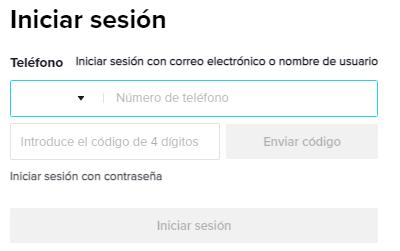 Iniciar sesión en TikTok desde el navegador del móvil paso 2