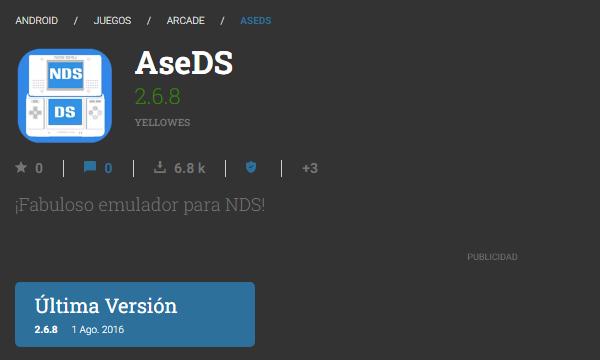AseDS como emulador de Nintendo DS para tu dispositivo Android