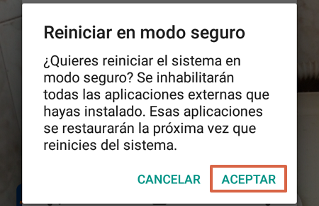Cómo ingresar al Modo Seguro y eliminar un virus o malware del Android paso 2