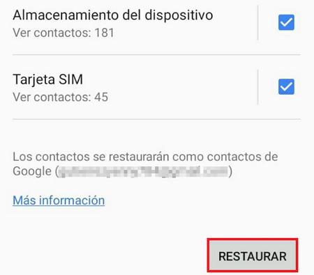 Cómo recuperar contactos borrados de tu SIM en iOS y Android. Copias de seguridad. Paso 6