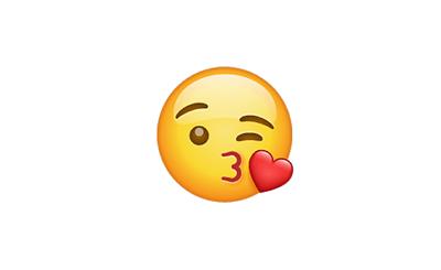 Carita lanzando un beso y guiñando el ojo