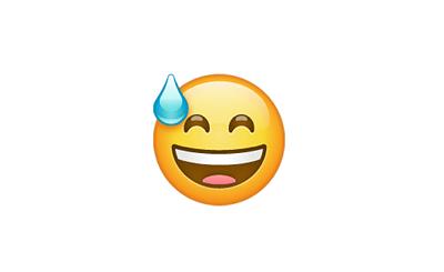 Carita sonriente con gota de sudor