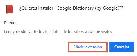 Cómo activar el diccionario de Google en Android o en el navegador. Usando la extensión para Chrome. Paso 2