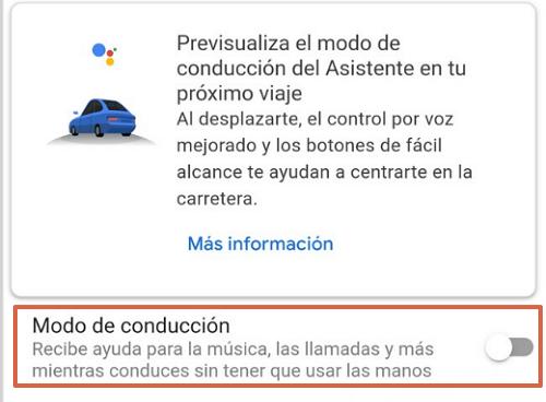 Cómo activar el modo conducción del Asistente en Google Maps desde los ajustes paso 6