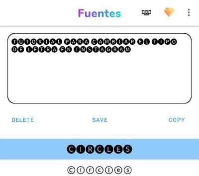 Cómo cambiar el tipo de letra en Instagram con Fonts paso 3