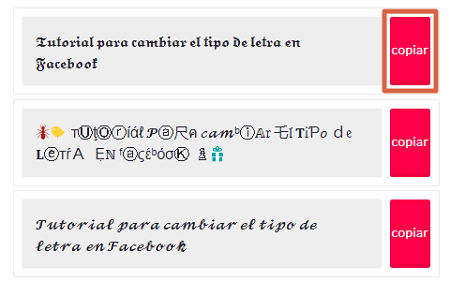 Como cambiar el tipo de letras en Facebook usando Conversor de letras paso 2