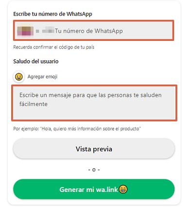 Cómo crear un enlace personalizado de WhatsApp con WA.Link paso 2