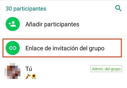 Cómo crear un link o enlace de un grupo de WhatsApp paso 2