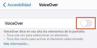 Como desactivar VoiceOver en iOS paso 3