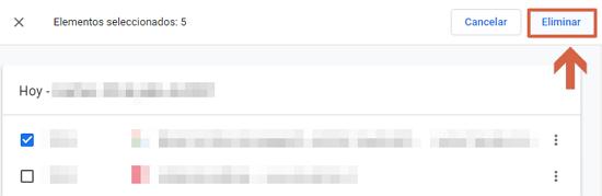 Cómo eliminar o borrar el historial de navegación de Google. Borrar elementos específicos. Paso 4