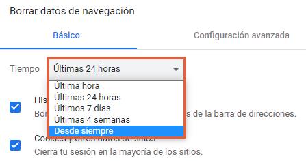 Cómo eliminar o borrar el historial de navegación de Google. Eliminar todos los datos de navegación. Desde la PC. Paso 6