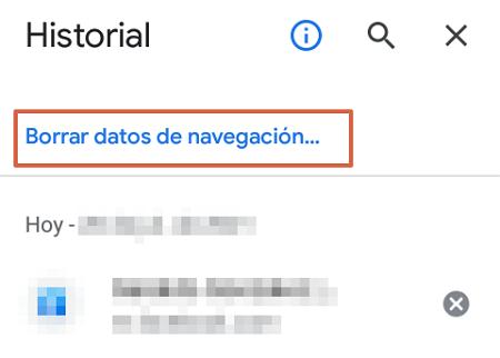 Cómo eliminar o borrar el historial de navegación de Google. Eliminar todos los datos de navegación. Desde un Smartphone. Paso 4