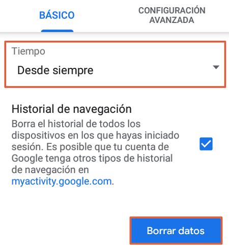 Cómo eliminar o borrar el historial de navegación de Google. Eliminar todos los datos de navegación. Desde un Smartphone. Paso 5