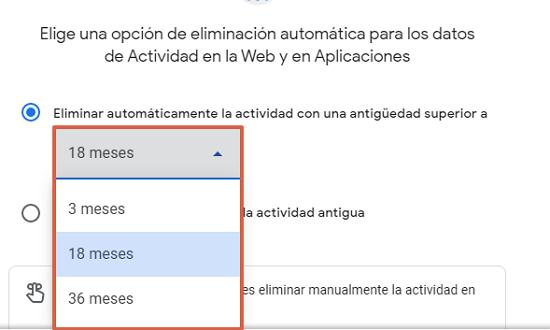 Cómo eliminar o borrar el historial de navegación de Google. Programa la eliminación de manera automática. Desde la PC. Paso 5